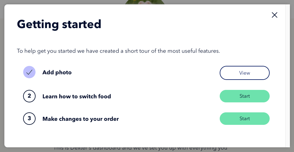 The tutorial space modal. Title: Getting started. Content: To help get you started we created a short tour of the most useful features.